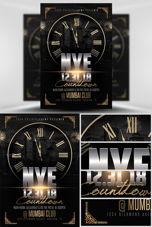 Flyer Template PSD - NYE Countdown 2
