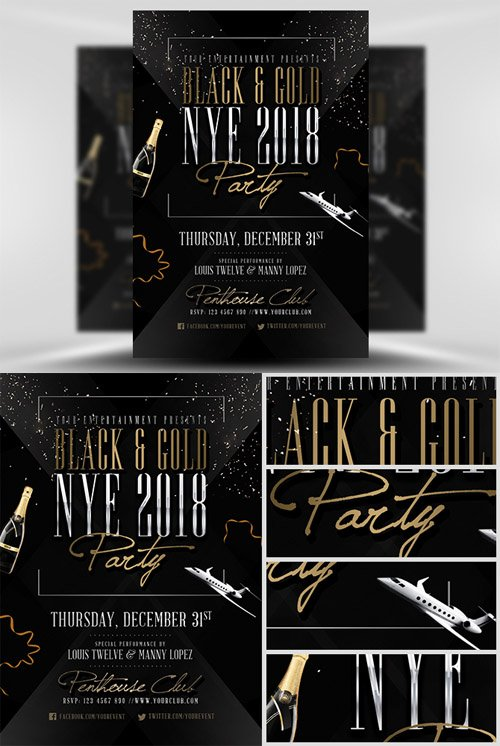 Flyer Template PSD - Black & Gold NYE