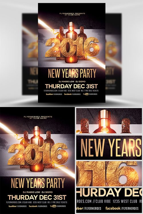 Flyer Template PSD - New Year Party