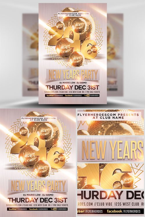 Flyer Template PSD - New Year Party 2