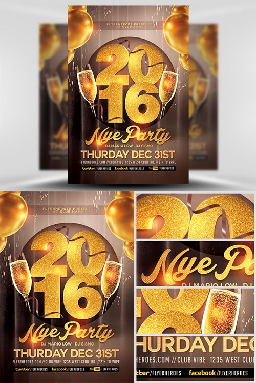 Flyer Template PSD - Glamorous NYE Party