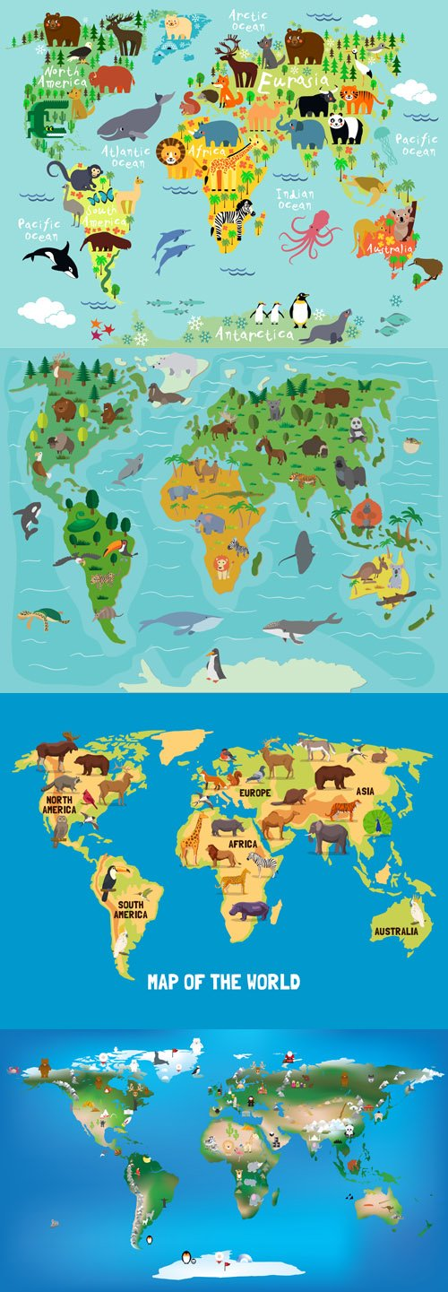 Animals worls map - Vectors