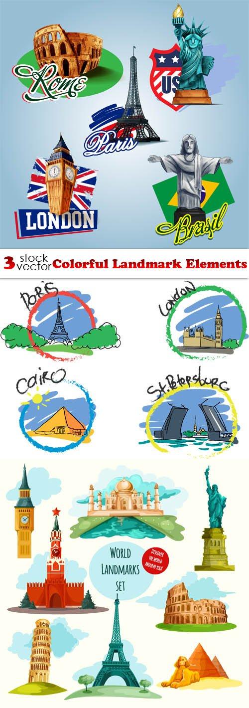 Vectors - Colorful Landmark Elements