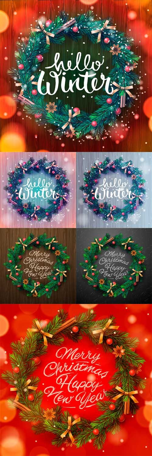Vector Hello Winter Background Christmas Wreath