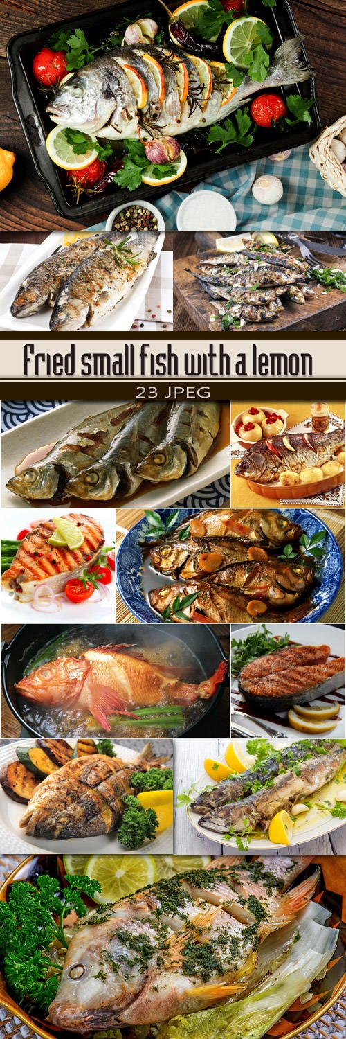 Fried small fish with a lemon