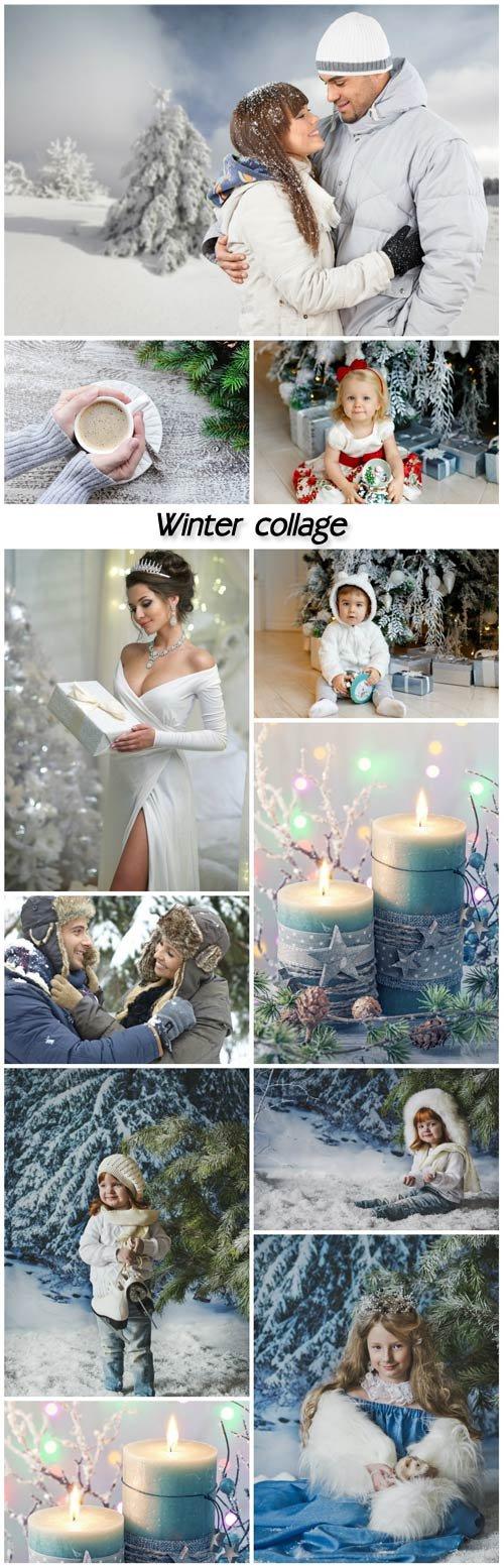 Winter collage, people, children