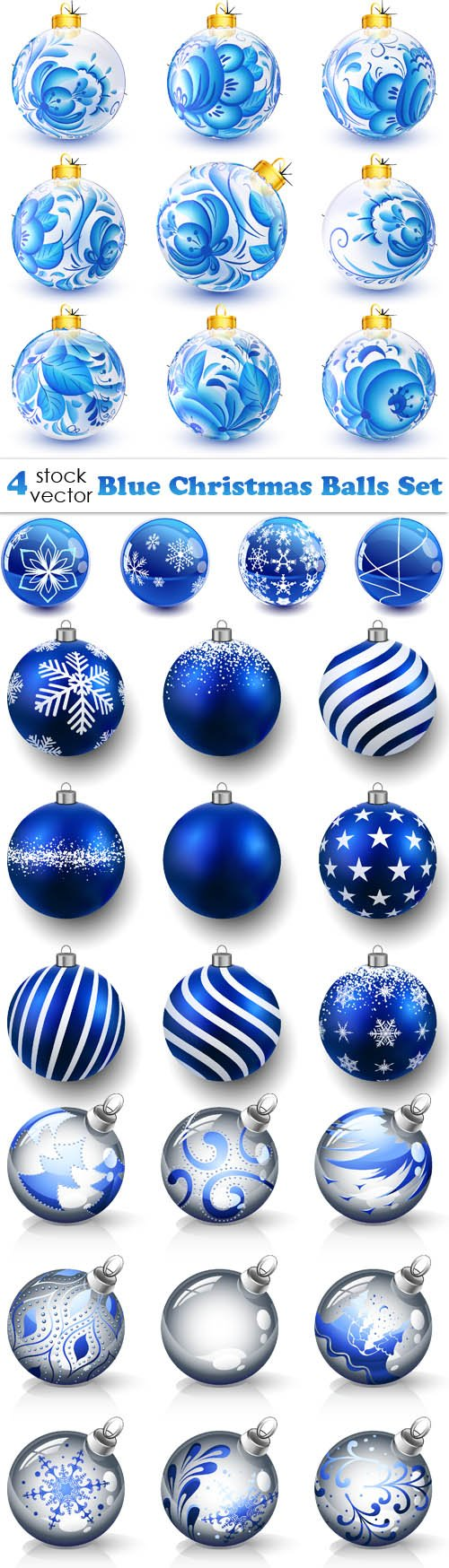 Vectors - Blue Christmas Balls Set
