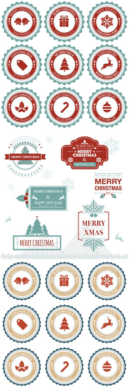 Christmas greeting badge and ornament - Vectors