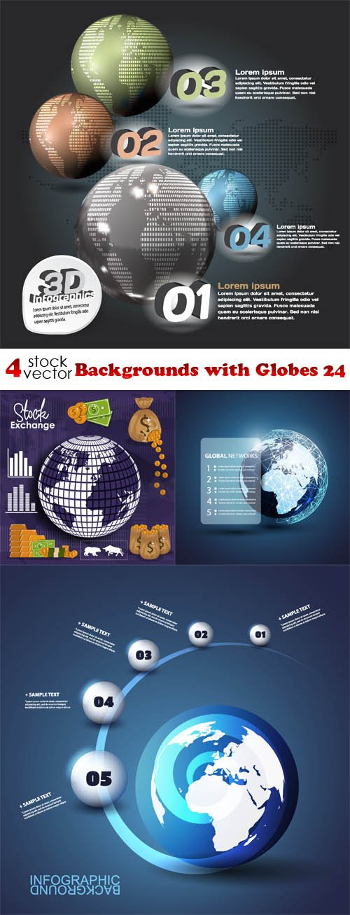 Vectors - Backgrounds with Globes 24