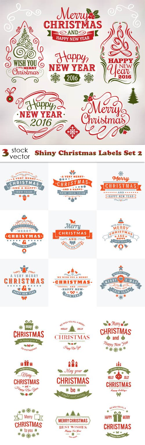 Vectors - Shiny Christmas Labels Set 2