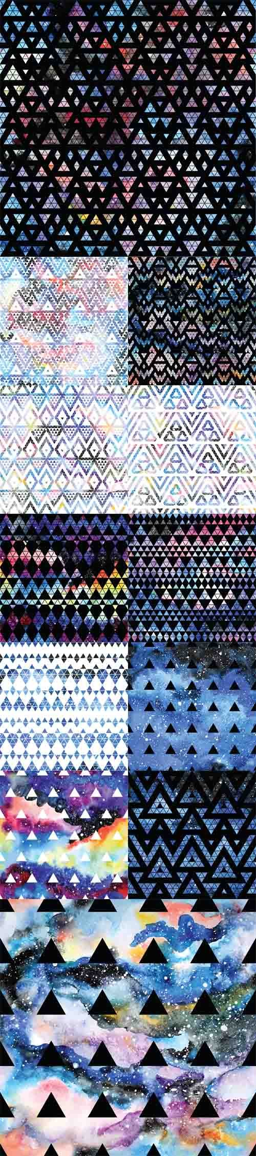 Vector Set - 12 Tribal galaxy seamless patterns