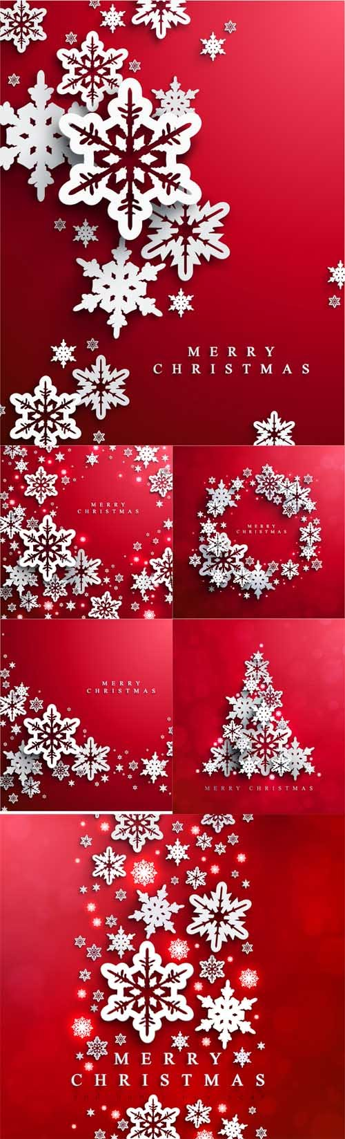 Vector Set - Christmas and card with paper snowflakes