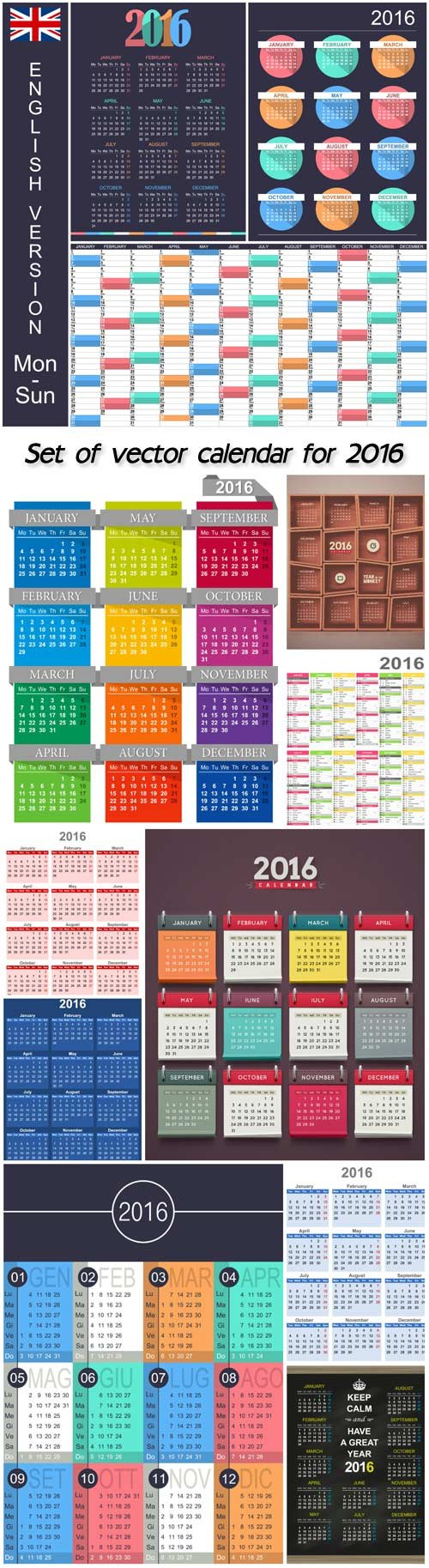 Set of vector calendar for 2016