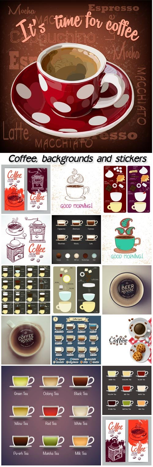 Coffee, backgrounds and stickers, logos