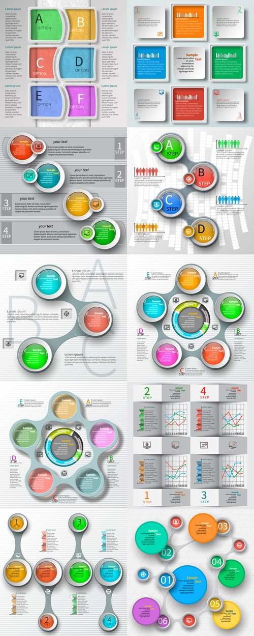 Abstract 3D Paper Infographics - Vectors