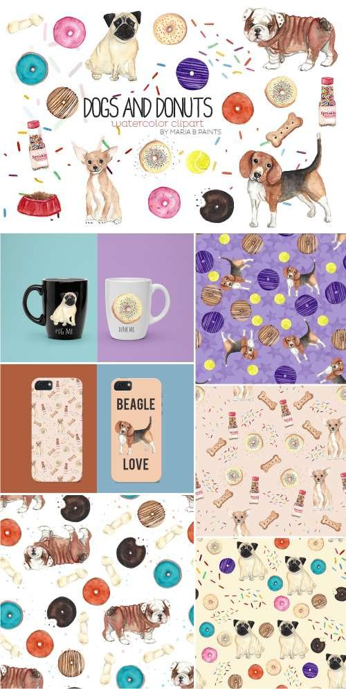 Watercolor Clip Art - Dogs n Donuts 415922