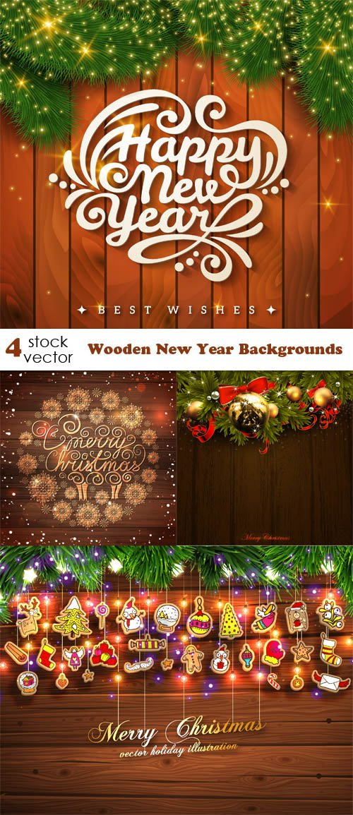 Vectors - Wooden New Year Backgrounds
