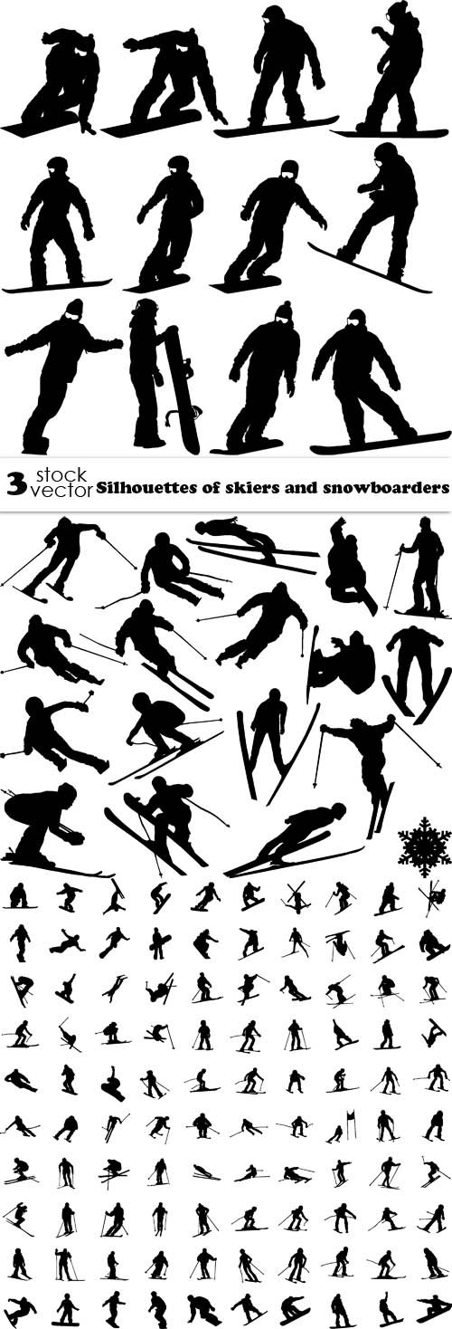 Vectors - Silhouettes of skiers and snowboarders