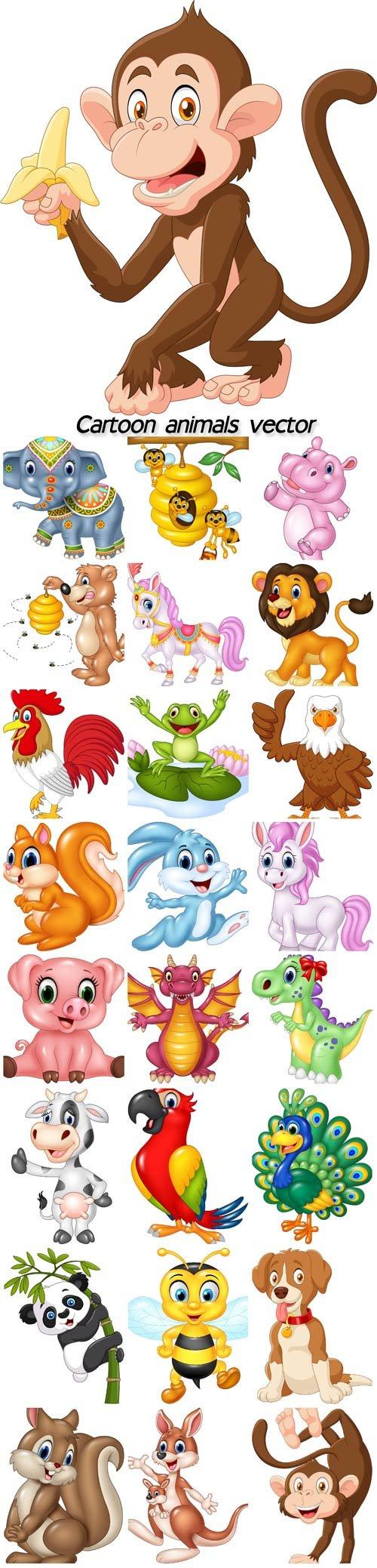 Cartoon animals vector, rabbit, squirrel, monkey