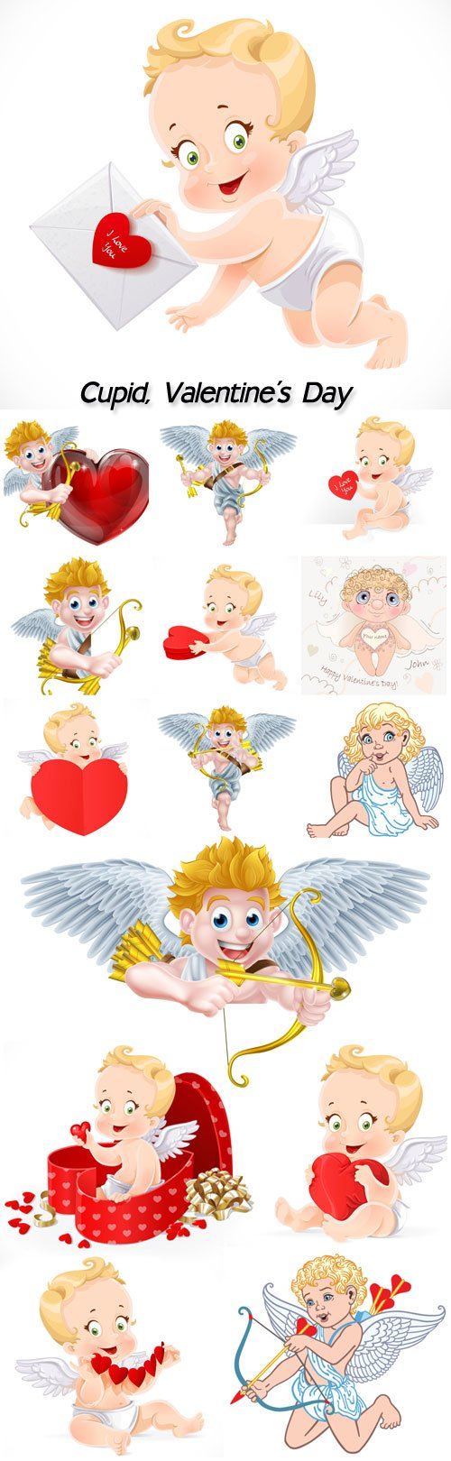 Cupid, Valentine's Day, angels with hearts