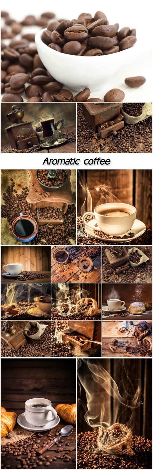 Coffee, coffee beans and a cup of aromatic coffee