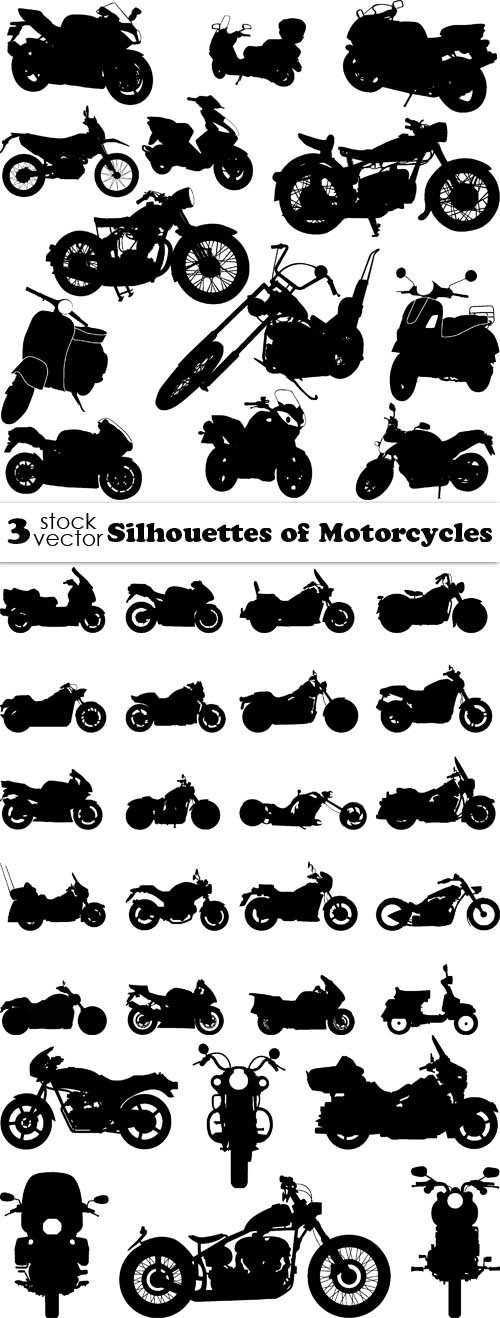 Vectors - Silhouettes of Motorcycles