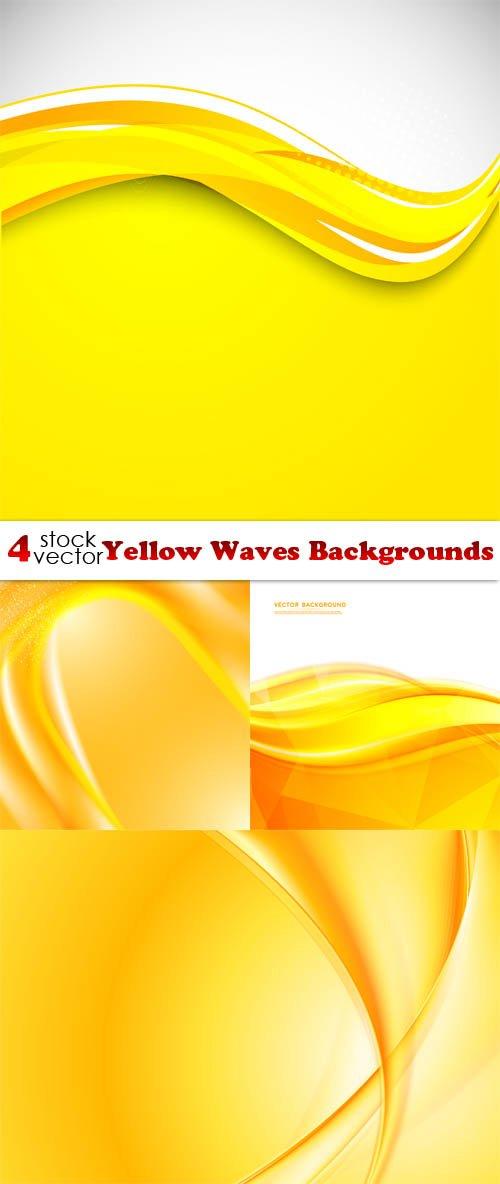 Vectors - Yellow Waves Backgrounds