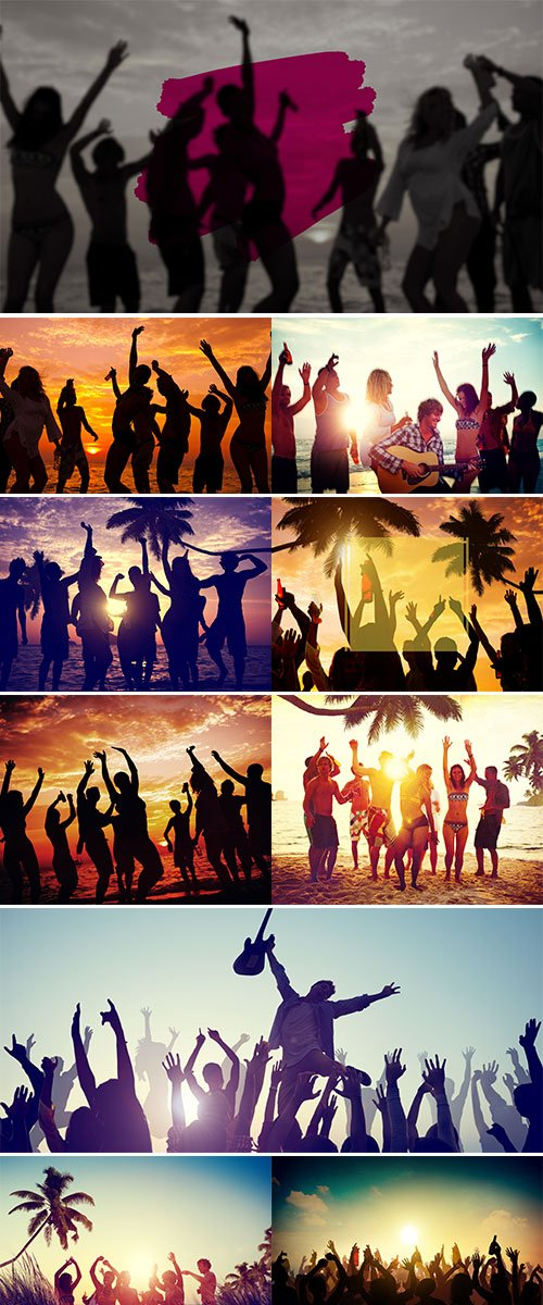 Stock Image Young adults enjoying a tropical beach party