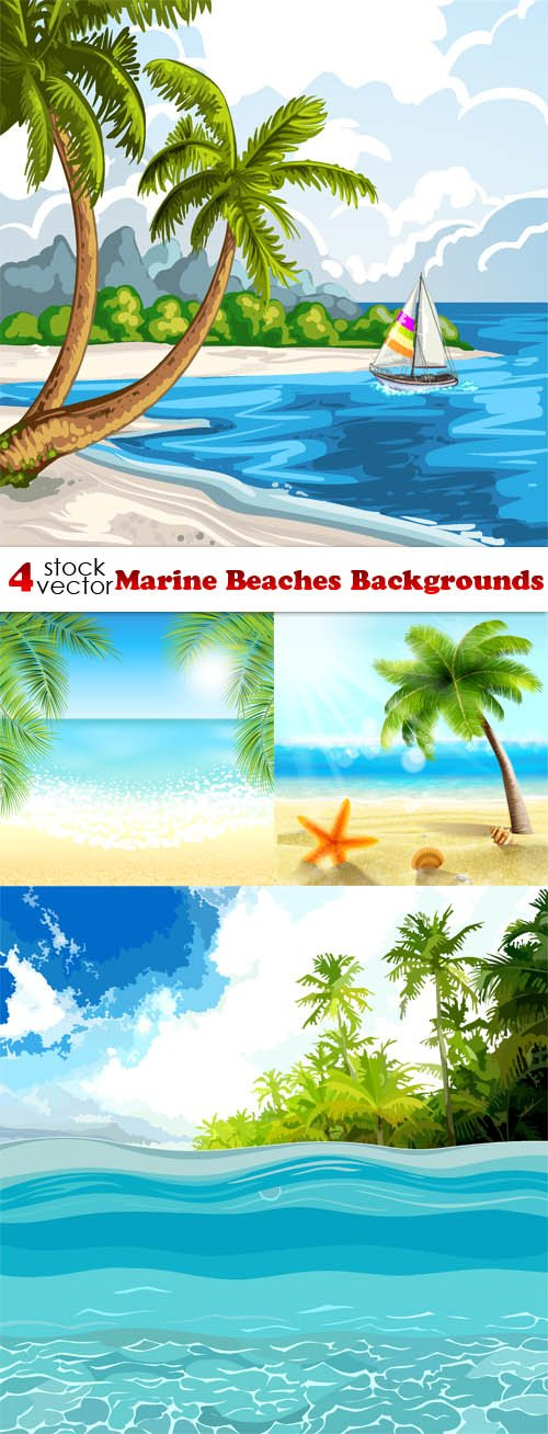 Vectors - Marine Beaches Backgrounds