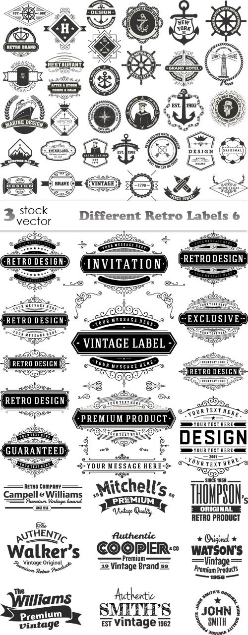 Vectors - Different Retro Labels 6