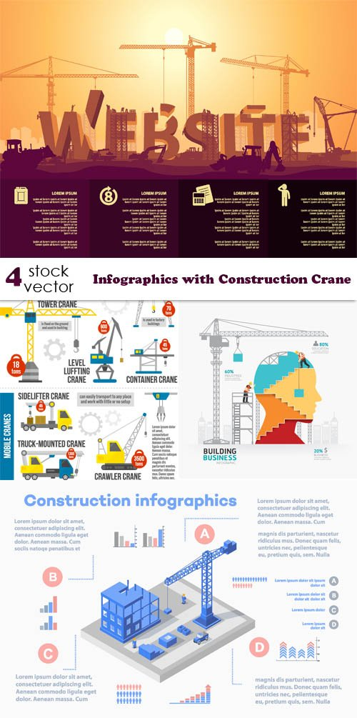 Vectors - Infographics with Construction Crane