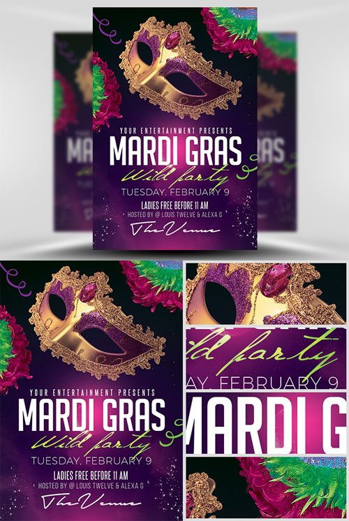 Party Flyer Template PSD - Mardi Gras 2