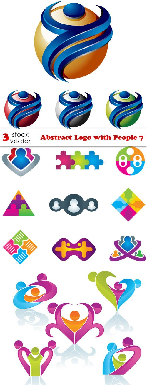 Vectors - Abstract Logo with People 7