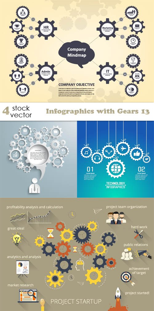 Vectors - Infographics with Gears 13