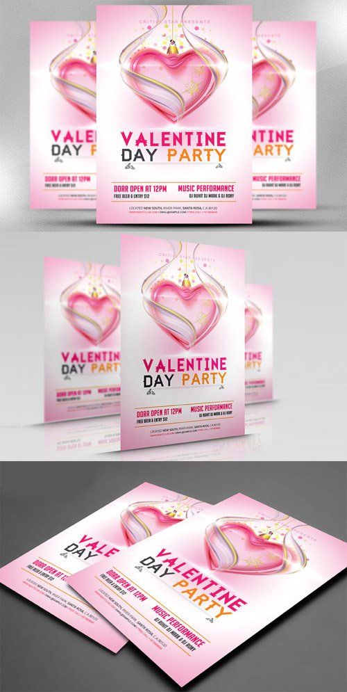 Valentine Day Party Flyer Template 489746