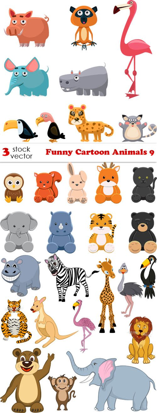 Vectors - Funny Cartoon Animals 9