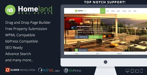ThemeForest - Homeland v2.9.0 - Responsive Real Estate WordPress Theme - 6518965