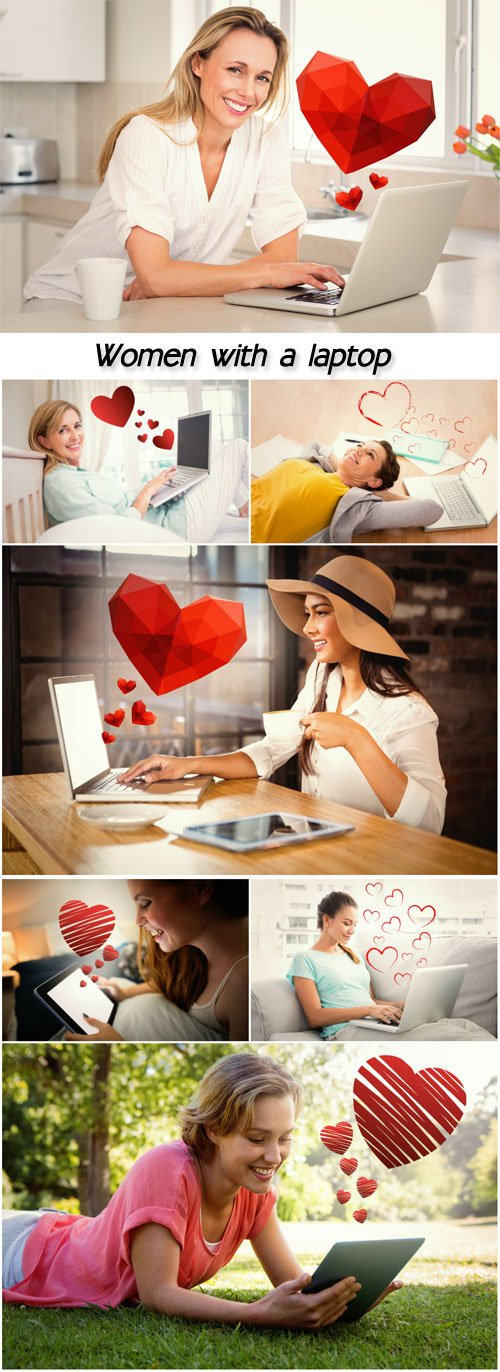Women with a laptop, romantic stock photos