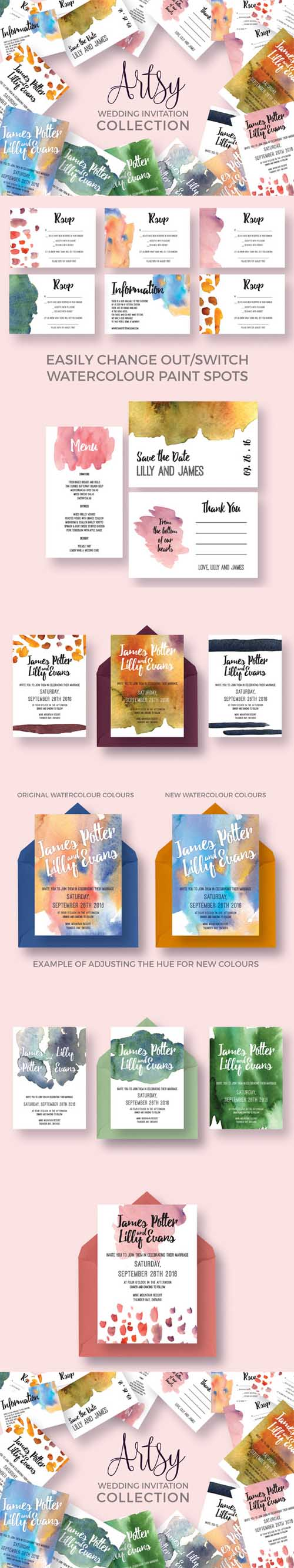 Artsy Wedding Invitation Collection 506760 (Creativemarket)