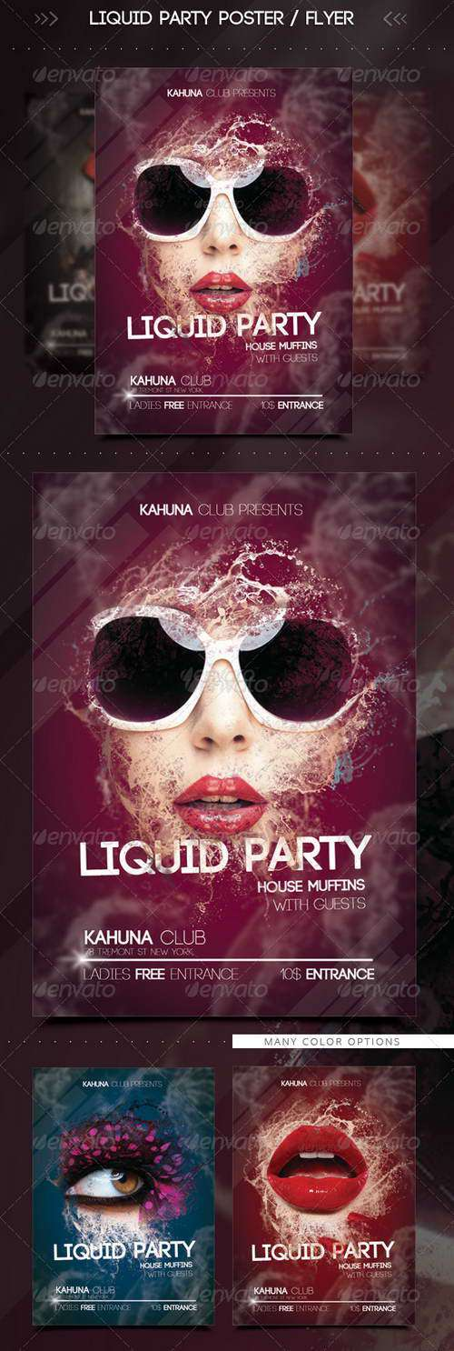 Wet Liquid Party Flyer / Poster (Graphicriver)