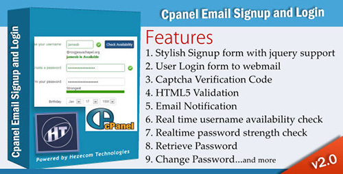 CodeCanyon – Cpanel Email Signup and Login v2.0 – 3753815