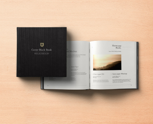 Black Square Book Mockup