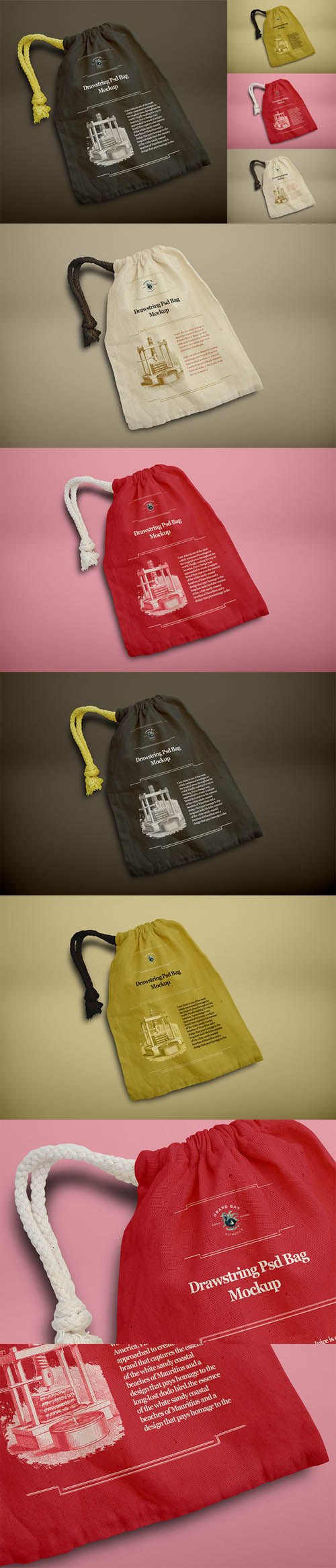 Drawstring Psd Bag Mockup 507512