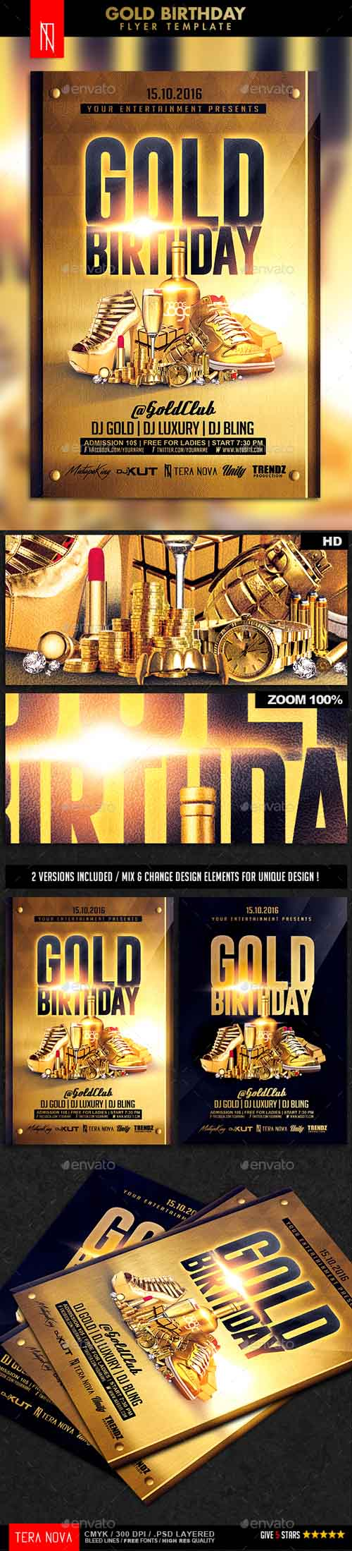 Gold Birthday Bling Bling Flyer Template 14551136
