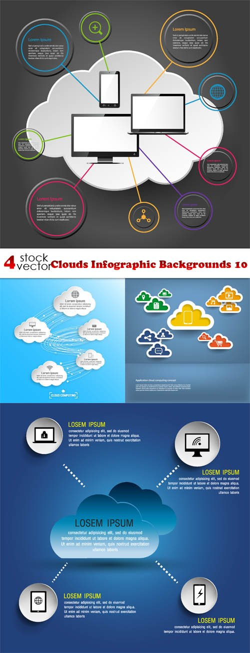 Vectors - Clouds Infographic Backgrounds 10