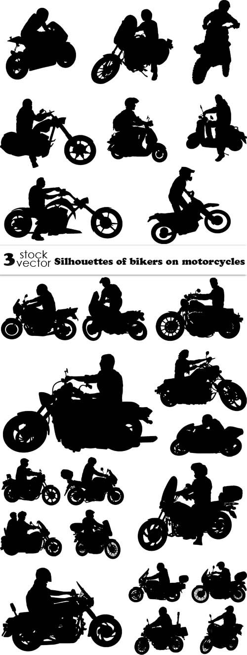 Vectors - Silhouettes of bikers on motorcycles