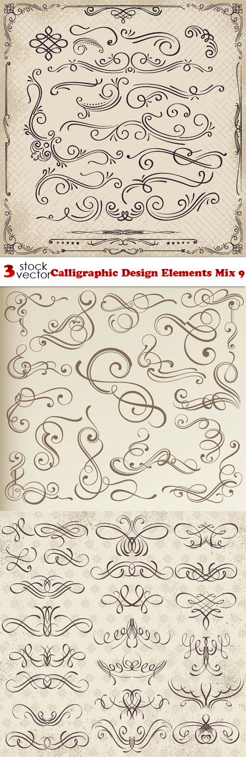 Vectors - Calligraphic Design Elements Mix 9