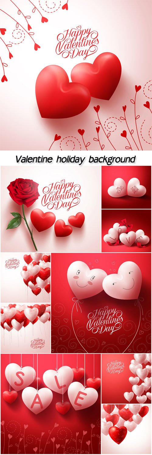 Valentine holiday background with hearts and red rose