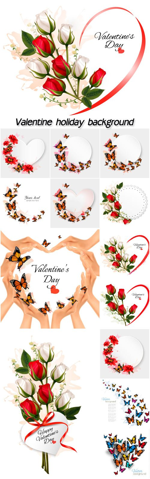 Valentine holiday background with red and white roses