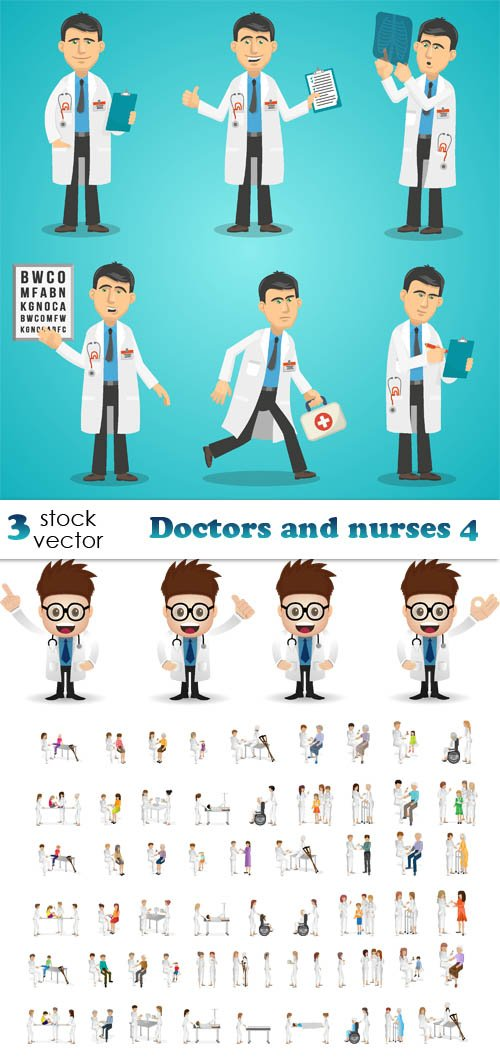 Vectors - Doctors and nurses 4